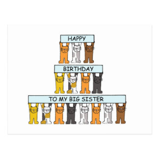 Irmã grande de feliz aniversario dos gatos cartão postal