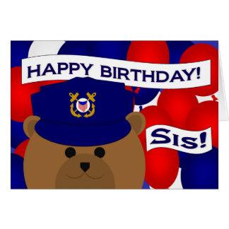 Irmã - guarda da costa do feliz aniversario! cartão comemorativo