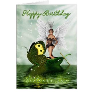 Irmã na lei, cartão de aniversário - fada da cisne