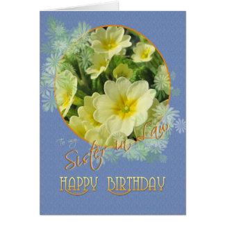 Irmã no azul das prímulas do feliz aniversario da cartão comemorativo