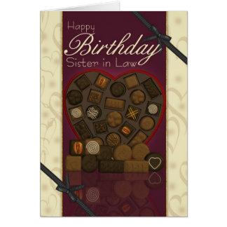 Irmã no cartão de aniversário da lei - chocolates