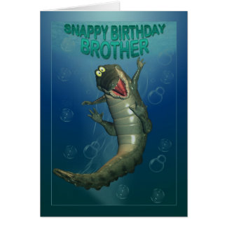 Irmão do feliz aniversario, crocodilo áspero do cartão comemorativo