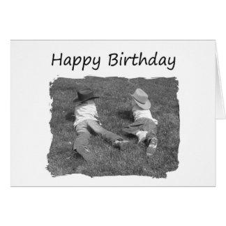 Irmão do feliz aniversario - vaqueiros cartão
