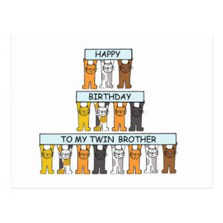 Irmão gêmeo de feliz aniversario cartão postal