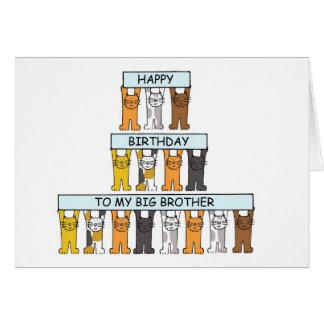 Irmão grande de feliz aniversario dos gatos cartão comemorativo