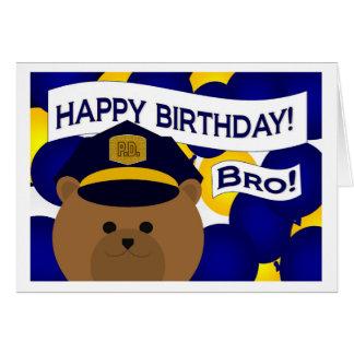 Irmão - herói da polícia do feliz aniversario! cartão comemorativo