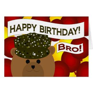 Irmão - soldado do exército do feliz aniversario! cartão comemorativo