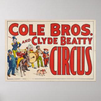 Irmãos do Cole e poster do circo de Clyde Beatty