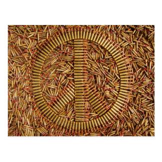 Ironia, sinal de paz, balas, cartão da munição cartão postal