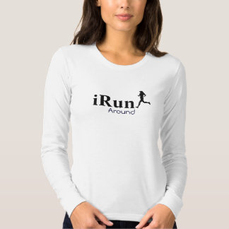 Irún em torno da camisa longa Running cómico da lu Camiseta