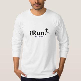 Irún em torno da camisa longa Running cómico da T-shirt