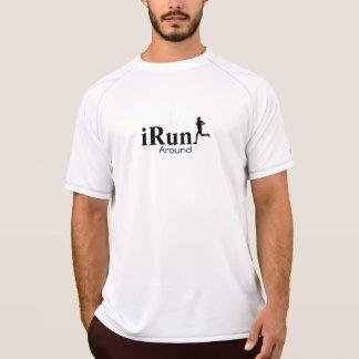 Irún em torno do t-shirt Running cómico para homen