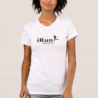 Irún em torno do t-shirt Running cómico para mulhe