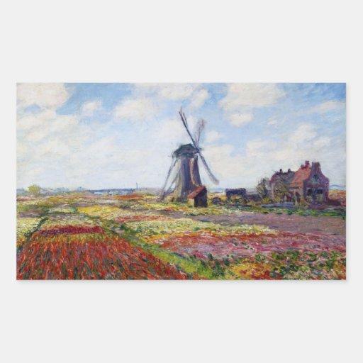 Campo de Monet das tulipas com moinho de vento Adesivos Retangular