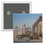 Israel, Tel Aviv, beira-mar, hotéis, crepúsculo Bóton Quadrado 5.08cm