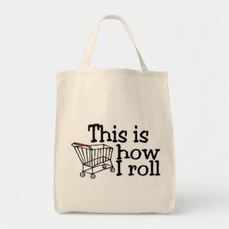 Isto é como eu rolo o carrinho de compras sacola tote de mercado