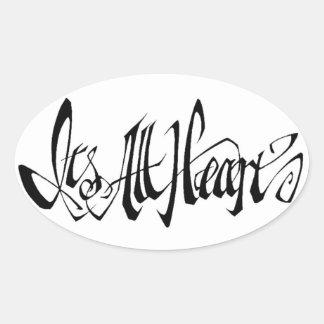 It toda a etiqueta do coração adesivo oval