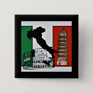 Italia - bandeira, silhueta, torre, e Colosseum Bóton Quadrado 5.08cm