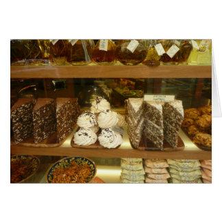 Italia, loja de pastelaria, doces, sobremesas, cartão comemorativo