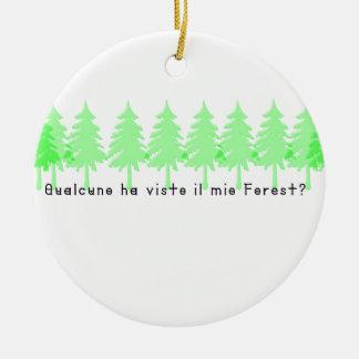 Italiano-Forrest Ornamento De Cerâmica Redondo