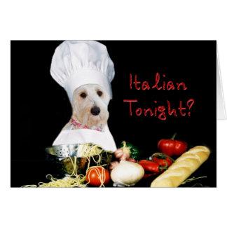Italiano hoje à noite? Cartão de nota - a coleção