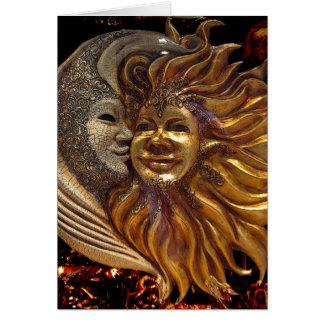 Italiano Sun & máscaras de Carnaval da lua Cartão Comemorativo