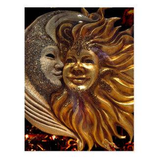 Italiano Sun & máscaras de Carnaval da lua Cartão Postal