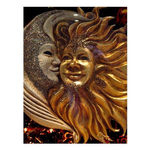 Italiano Sun & máscaras de Carnaval da lua Cartoes Postais