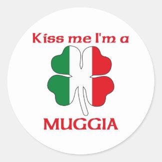 Italianos personalizados beijam-me que eu sou adesivos em formato redondos