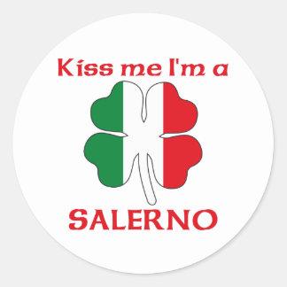 Italianos personalizados beijam-me que eu sou adesivo redondo