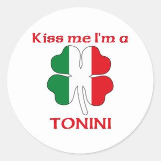 Italianos personalizados beijam-me que eu sou adesivo em formato redondo