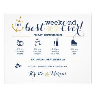Itinerário náutico 2 do fim de semana do casamento flyer