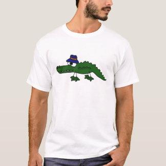 Jacaré Funky que veste desenhos animados do chapéu Camiseta