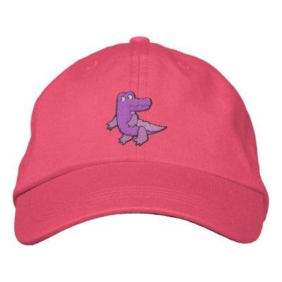 Jacaré roxo cor-de-rosa bonito pequeno boné bordado