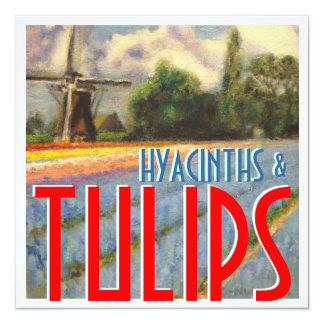 Jacintos e moinho de vento das tulipas convite quadrado 13.35 x 13.35cm