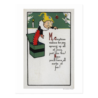 Jack in the Box que envia desejos do Natal Cartão Postal