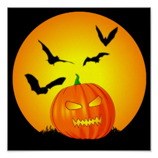 Jack-O-Lanterna da lua do Dia das Bruxas Poster