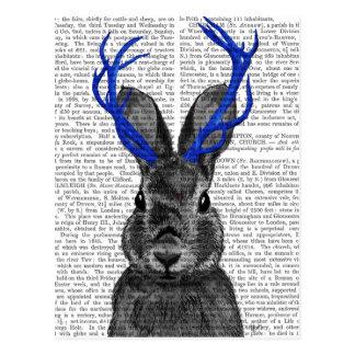Jackalope com Antlers azuis Cartão Postal