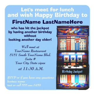 Jackpot do slot machine do almoço do aniversário convites personalizado