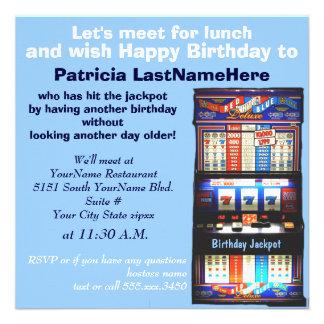 Jackpot do slot machine do almoço do aniversário convites