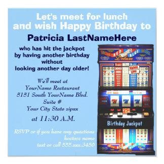 Jackpot do slot machine do almoço do aniversário convite quadrado 13.35 x 13.35cm
