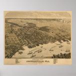 Jacksonville, mapa de FL Birdseye, Circe 1874 Posteres