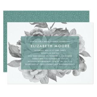 Jade floral do chá de panela | do vintage convite 12.7 x 17.78cm