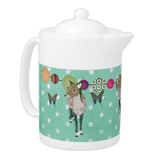 Jaded Deer & Butterflies Teapot