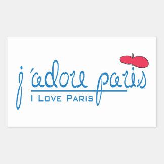 j'adore Paris (amor Paris de I) com boina vermelha Adesivo Retângular