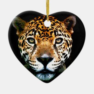 Jaguar Ornamento De Cerâmica Coração