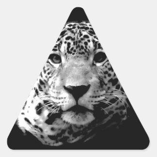 Jaguar preto & branco adesivo triangular