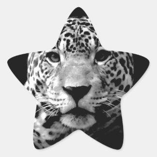 Jaguar preto & branco adesivo estrela