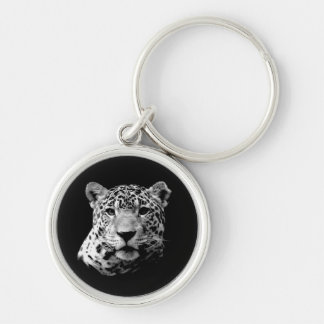 Jaguar preto & branco chaveiro redondo na cor prata