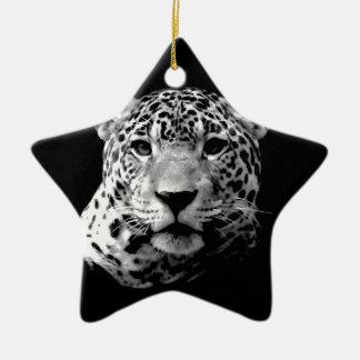 Jaguar preto & branco ornamento de cerâmica estrela